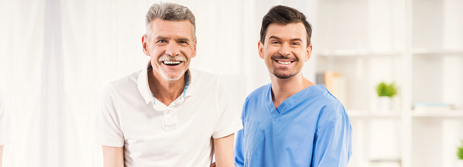 male caregiver and senior man